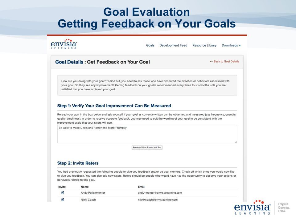 Goal Evaluation Getting Feedback on Your Goals