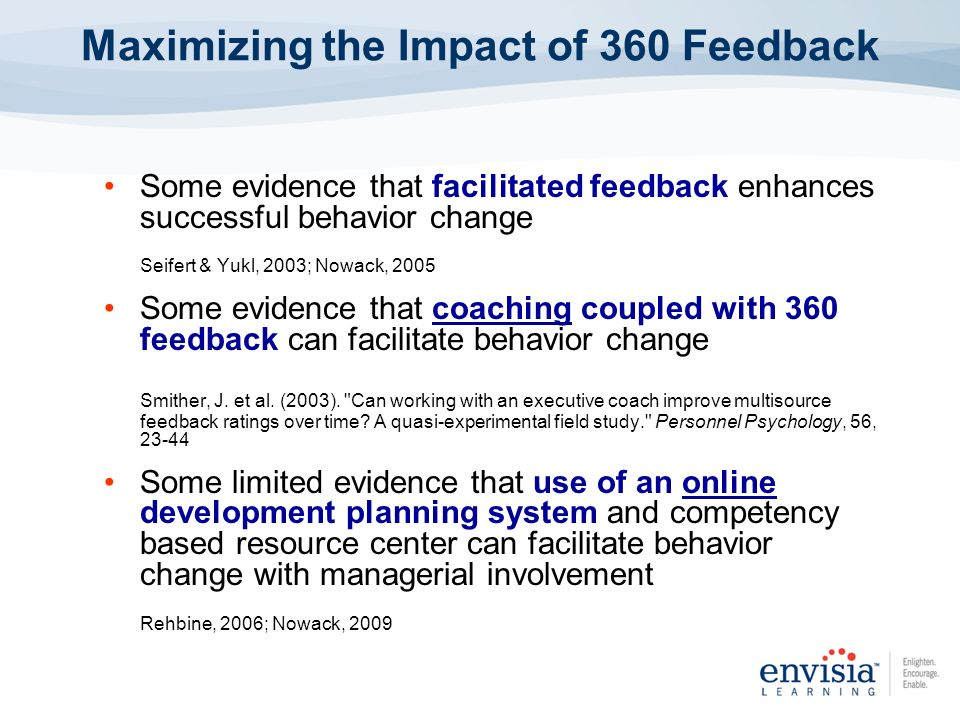 Some evidence that facilitated feedback enhances successful behavior change Seifert & Yukl, 2003; Nowack, 2005 Some evidence that coaching coupled wit