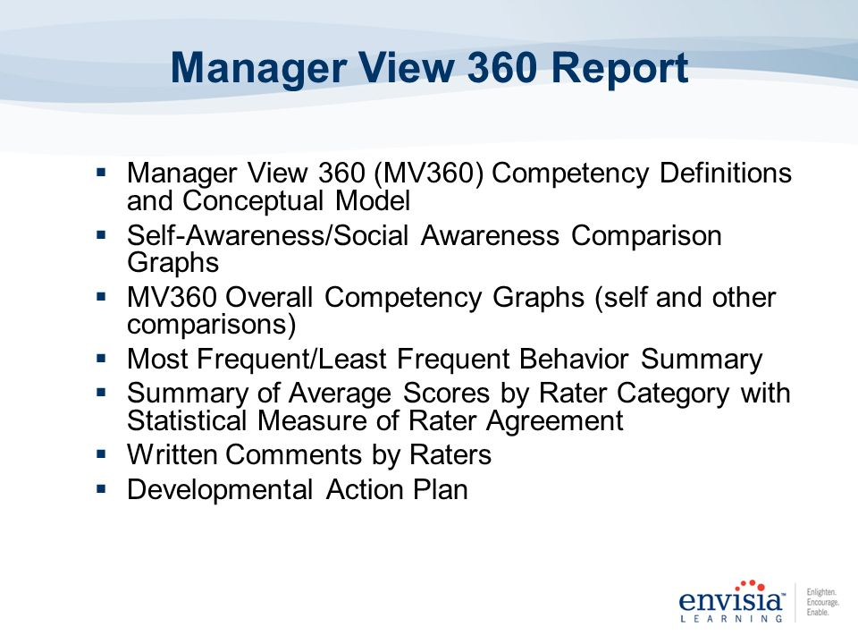 Measures 20 Competencies Focusing on Communication, Leadership, Interpersonal & Problem Solving Competencies 100 Behavioral Questions Online Administration Reliable and Valid Scales Comprehensive Summary Feedback Report Manager 360 Features