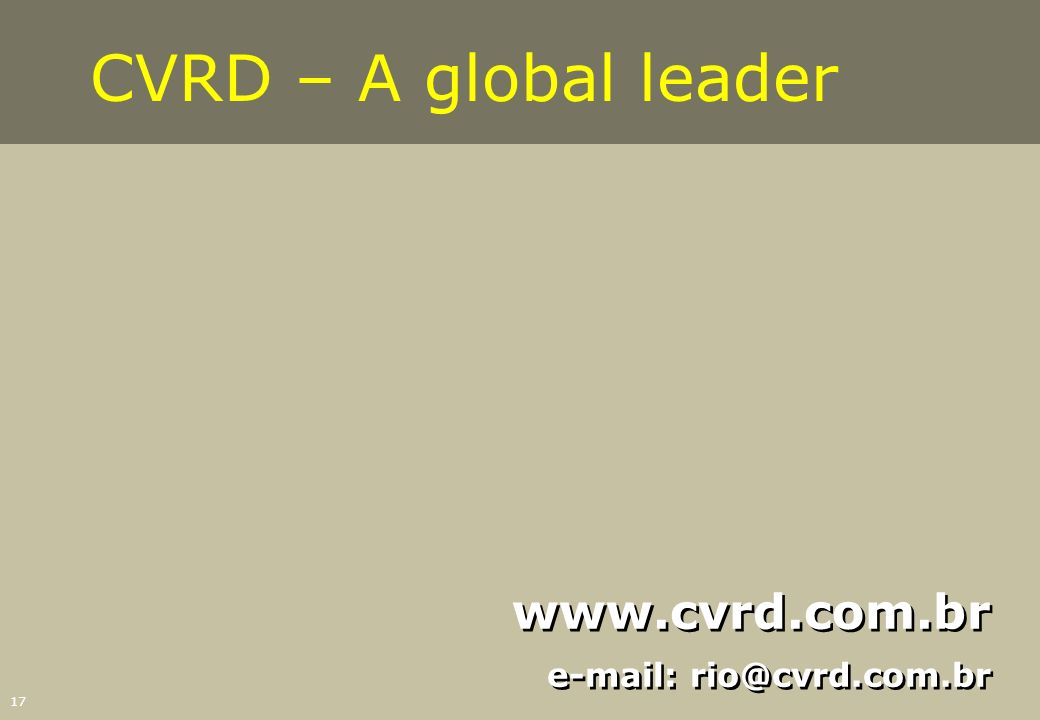17 www.cvrd.com.br e-mail: rio@cvrd.com.br www.cvrd.com.br e-mail: rio@cvrd.com.br CVRD – A global leader