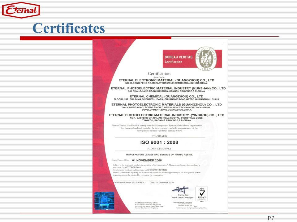 P.7 Certificates
