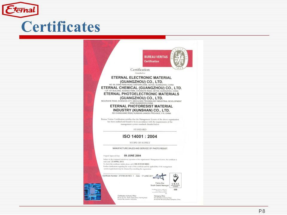 P.8 Certificates