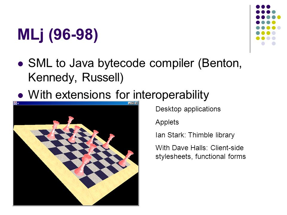 MLj (96-98) SML to Java bytecode compiler (Benton, Kennedy, Russell) With extensions for interoperability Desktop applications Applets Ian Stark: Thimble library With Dave Halls: Client-side stylesheets, functional forms