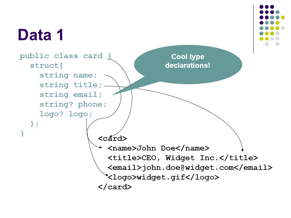 Data 1 public class card { struct{ string name; string title; string email; string.