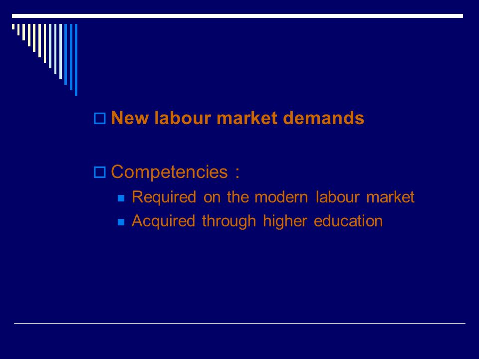 New labour market demands Competencies : Required on the modern labour market Acquired through higher education