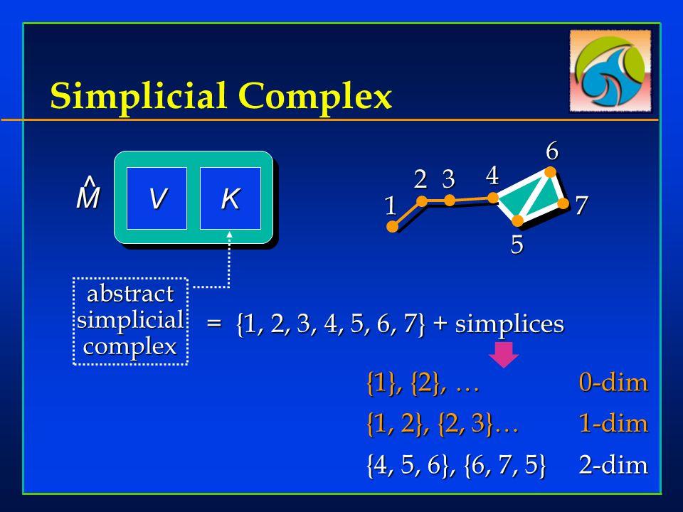 Simplicial Complex 5 1 23 467 = {1, 2, 3, 4, 5, 6, 7} + simplices {1}, {2}, …0-dim {1, 2}, {2, 3}…1-dim VK M ^ {4, 5, 6}, {6, 7, 5}2-dim abstract simplicial complex