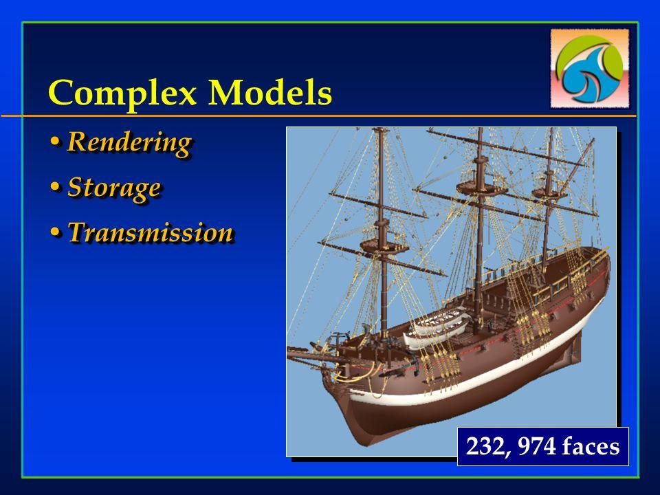 Rendering Rendering Storage Storage Transmission Transmission Rendering Rendering Storage Storage Transmission Transmission Complex Models 232, 974 faces