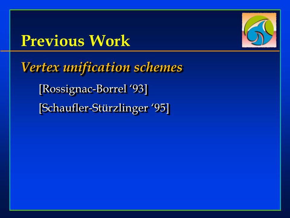 Previous Work Vertex unification schemes [Rossignac-Borrel 93] [Schaufler-Strzlinger 95] [Schaufler-Stürzlinger 95] Vertex unification schemes [Rossignac-Borrel 93] [Schaufler-Strzlinger 95] [Schaufler-Stürzlinger 95]