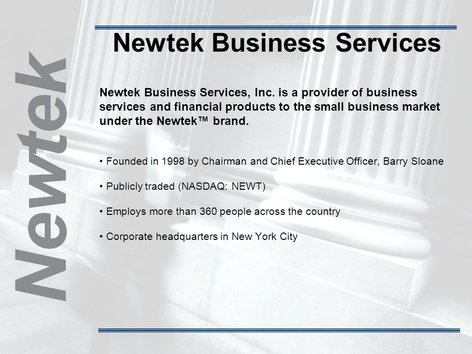 Newtek Business Services Newtek Business Services, Inc.