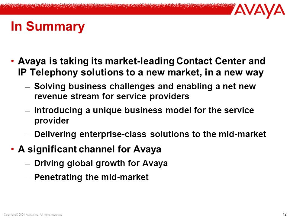 12 Copyright© 2004 Avaya Inc.