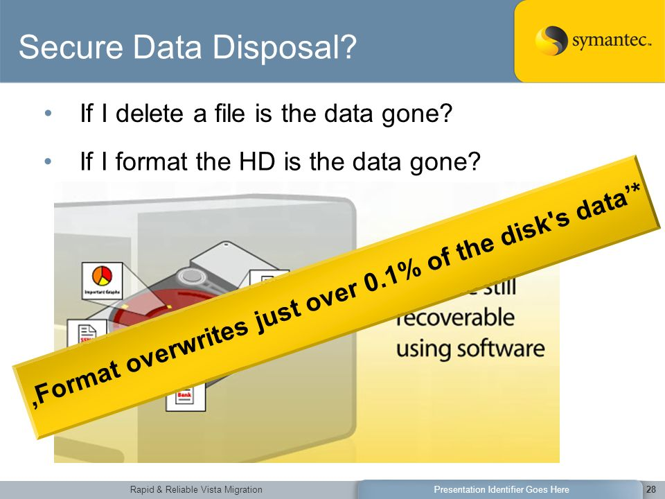 Rapid & Reliable Vista MigrationPresentation Identifier Goes Here28 Secure Data Disposal.