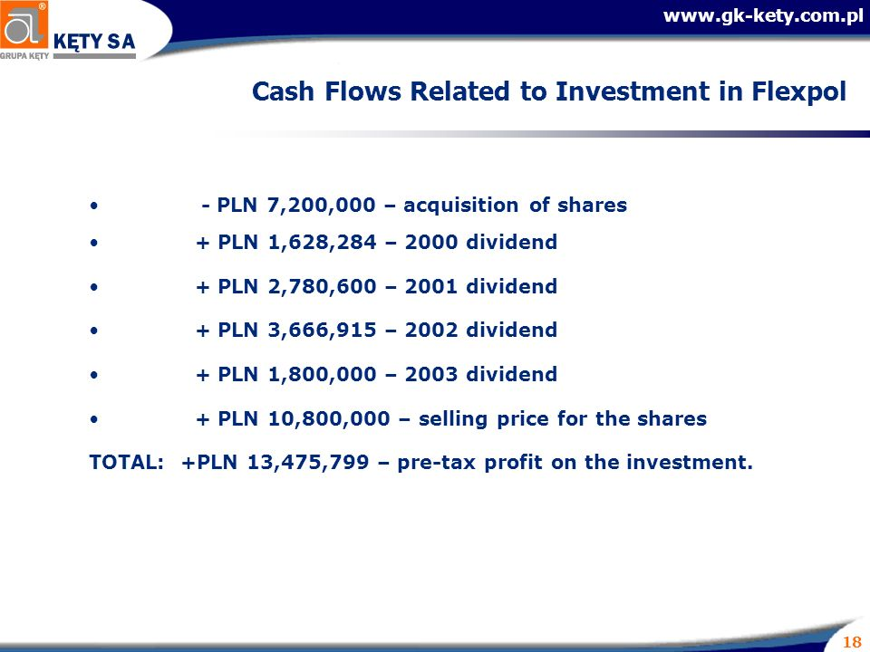 18 Cash Flows Related to Investment in Flexpol - PLN 7,200,000 – acquisition of shares + PLN 1,628,284 – 2000 dividend + PLN 2,780,600 – 2001 dividend + PLN 3,666,915 – 2002 dividend + PLN 1,800,000 – 2003 dividend + PLN 10,800,000 – selling price for the shares TOTAL: +PLN 13,475,799 – pre-tax profit on the investment.