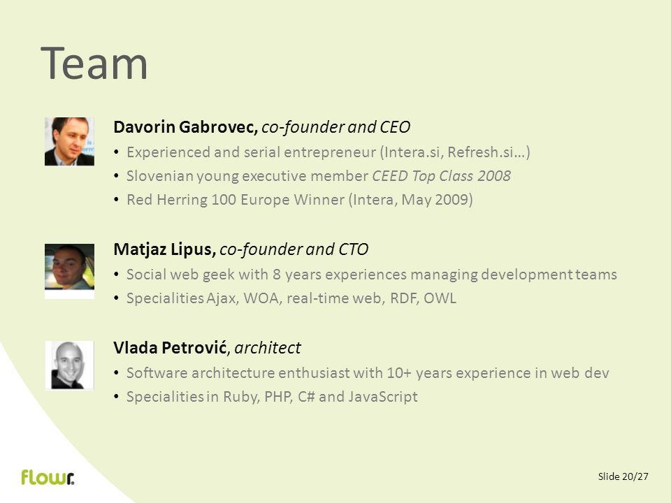 Slide 20/27 Team Davorin Gabrovec, co-founder and CEO Experienced and serial entrepreneur (Intera.si, Refresh.si…) Slovenian young executive member CE