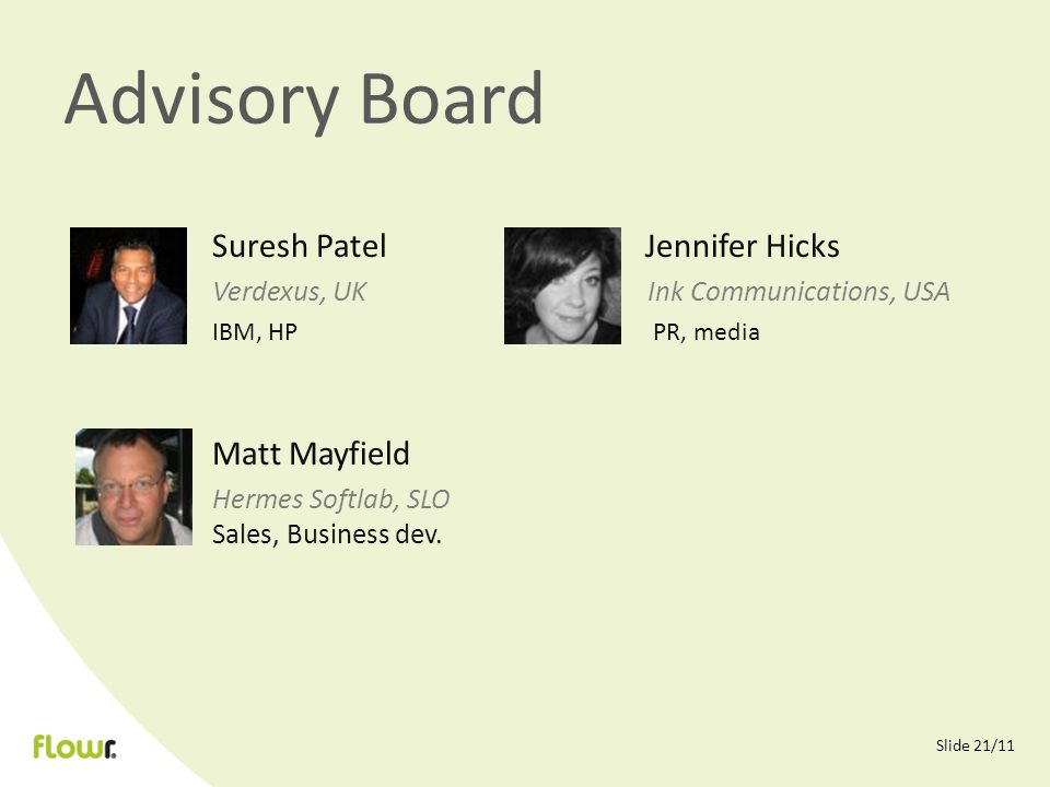Slide 21/11 Advisory Board Suresh Patel Jennifer Hicks Verdexus, UK Ink Communications, USA IBM, HP PR, media Matt Mayfield Hermes Softlab, SLO Sales, Business dev.