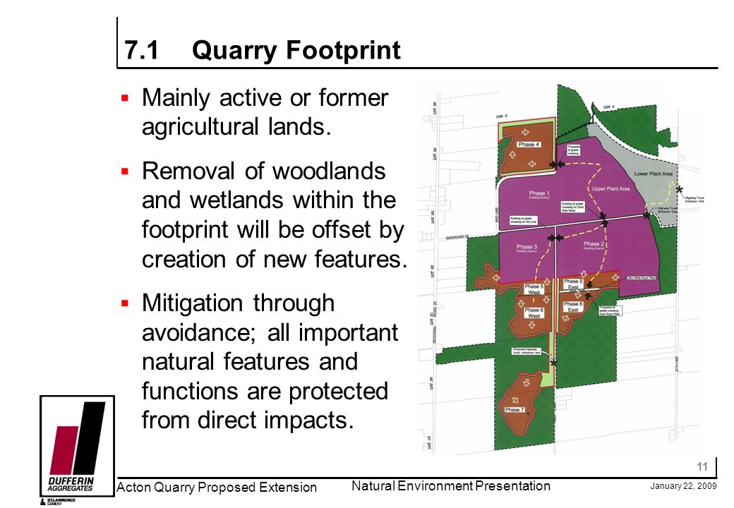 11 January 22, 2009 Acton Quarry Proposed Extension Natural Environment Presentation 7.1Quarry Footprint Mainly active or former agricultural lands. R