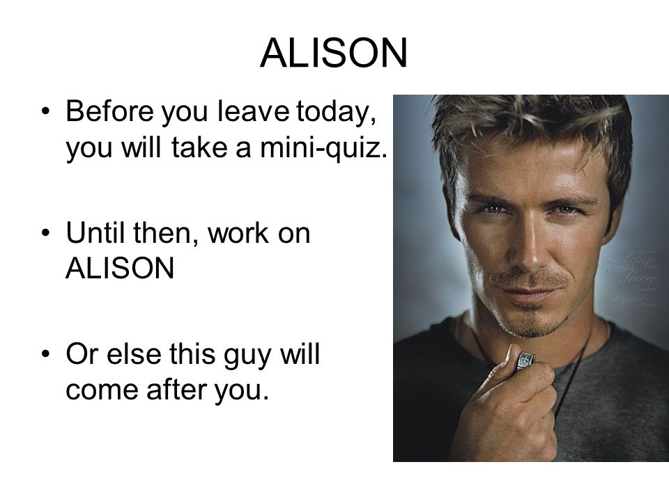 ALISON Before you leave today, you will take a mini-quiz. Until then, work on ALISON Or else this guy will come after you.
