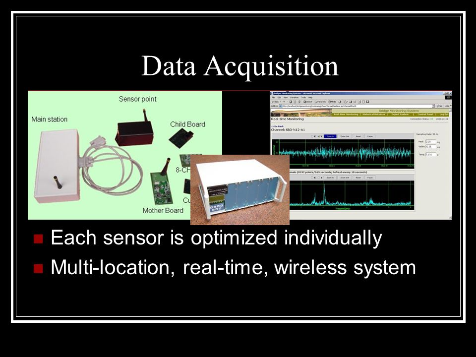 Data Acquisition Each sensor is optimized individually Multi-location, real-time, wireless system