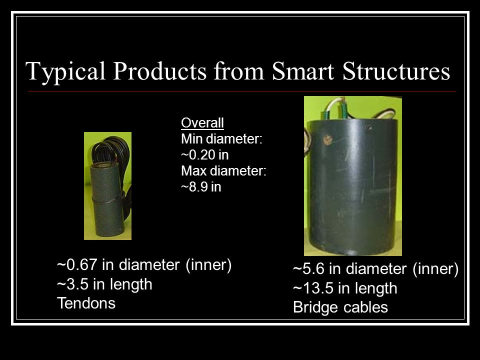 Typical Products from Smart Structures ~5.6 in diameter (inner) ~13.5 in length Bridge cables ~0.67 in diameter (inner) ~3.5 in length Tendons Overall