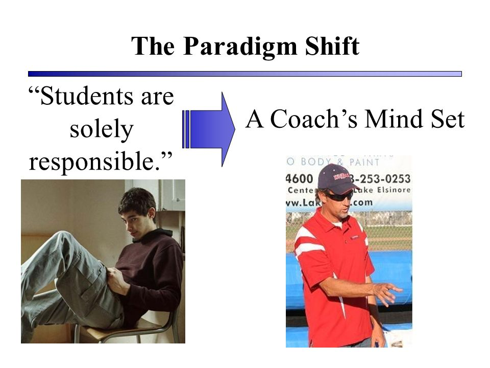 The Paradigm Shift Students are solely responsible. A Coachs Mind Set