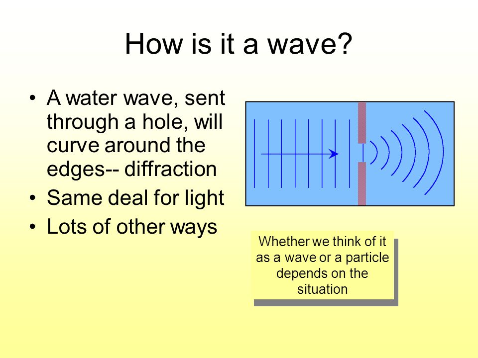 How is it a wave? A water wave, sent through a hole, will curve around the edges-- diffraction Same deal for light Lots of other ways Whether we think