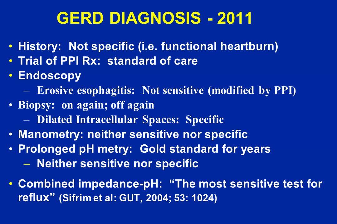 GERD DIAGNOSIS - 2011 History: Not specific (i.e. functional heartburn) Trial of PPI Rx: standard of care Endoscopy –Erosive esophagitis: Not sensitiv