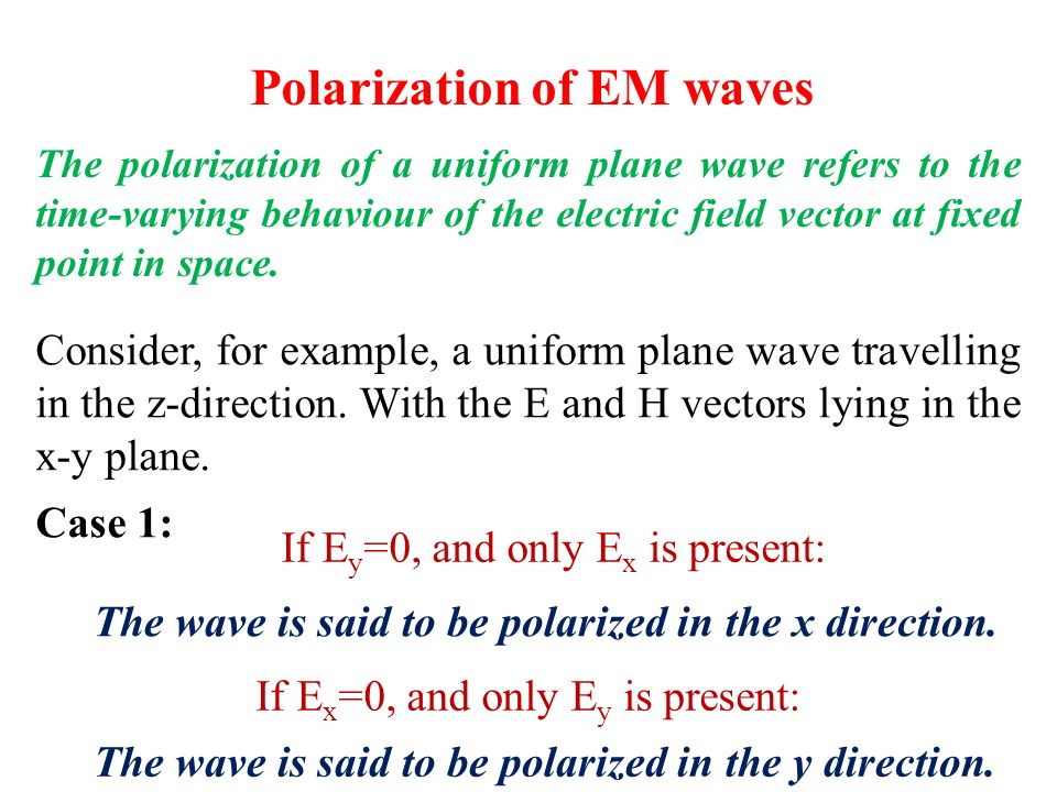 Polarization of EM waves The polarization of a uniform plane wave refers to the time-varying behaviour of the electric field vector at fixed point in