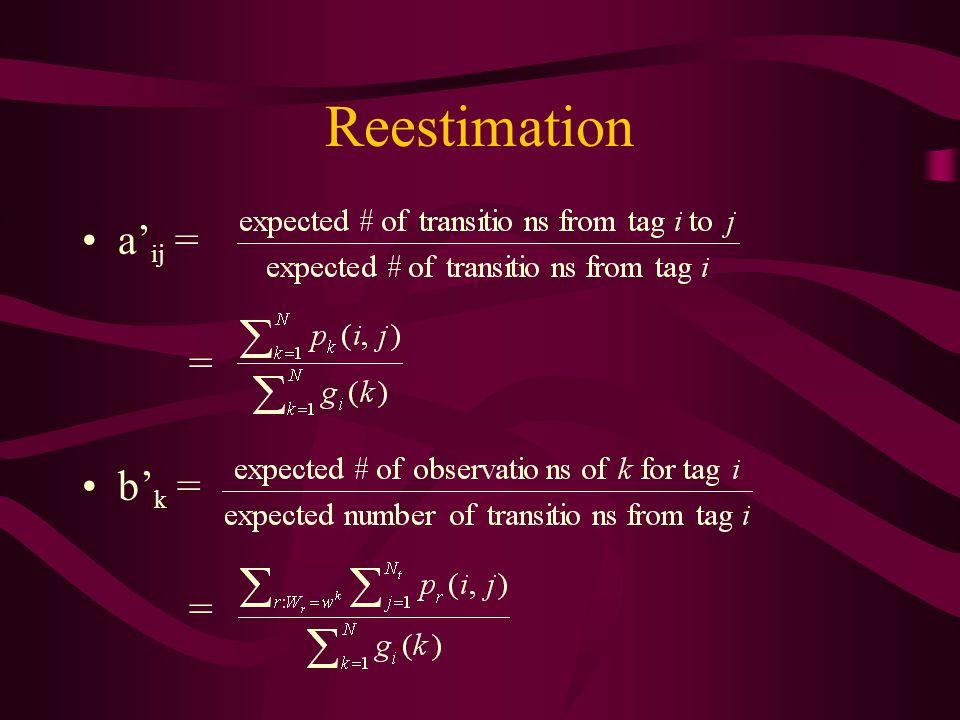 Reestimation a ij = = b k = =