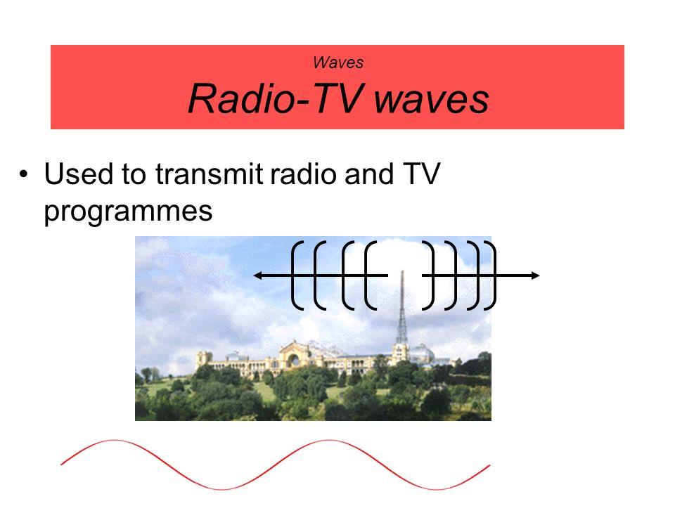 Waves Radio-TV waves Used to transmit radio and TV programmes