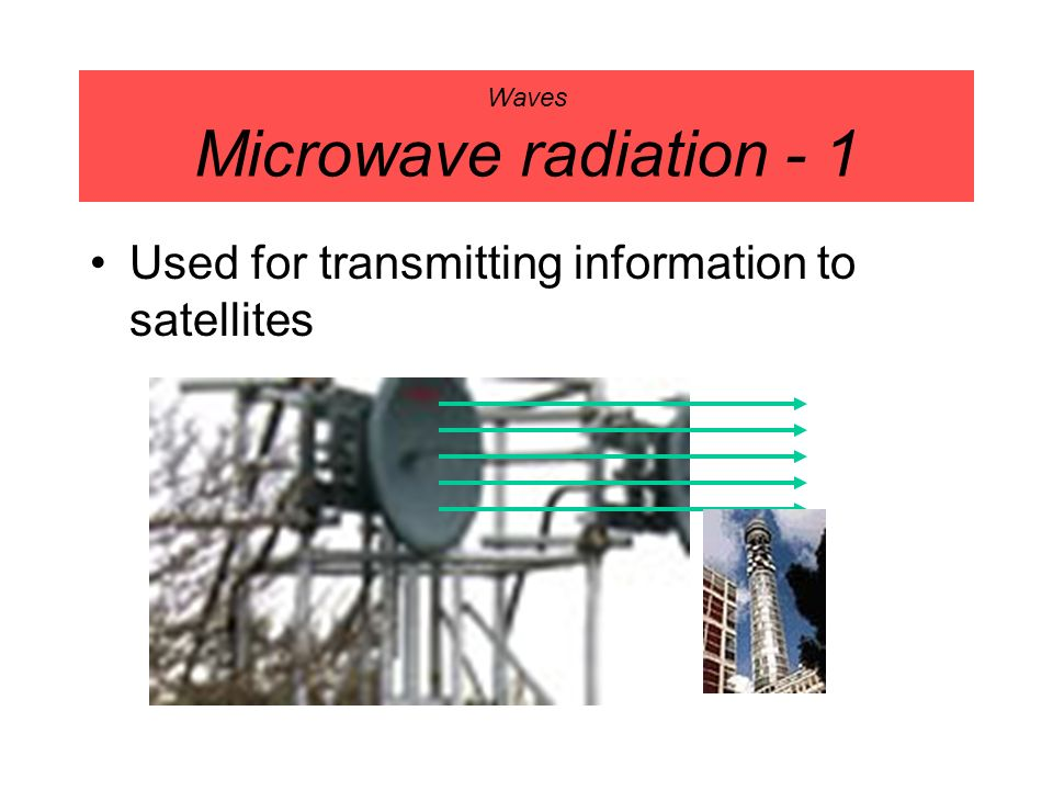 Waves Microwave radiation - 1 Used for transmitting information to satellites