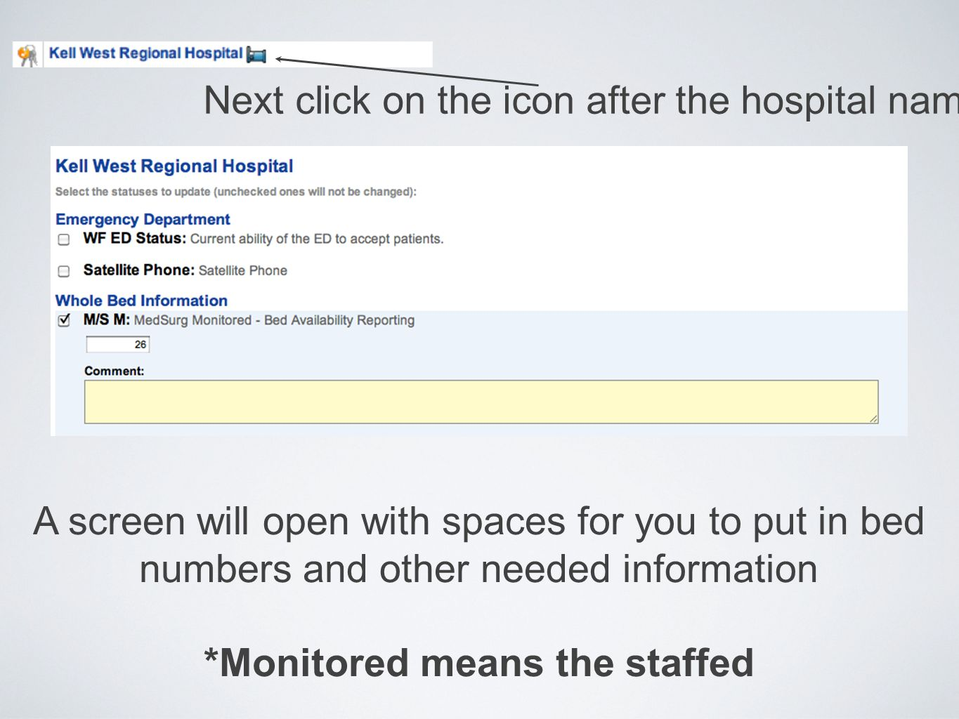 Next click on the icon after the hospital name A screen will open with spaces for you to put in bed numbers and other needed information *Monitored means the staffed