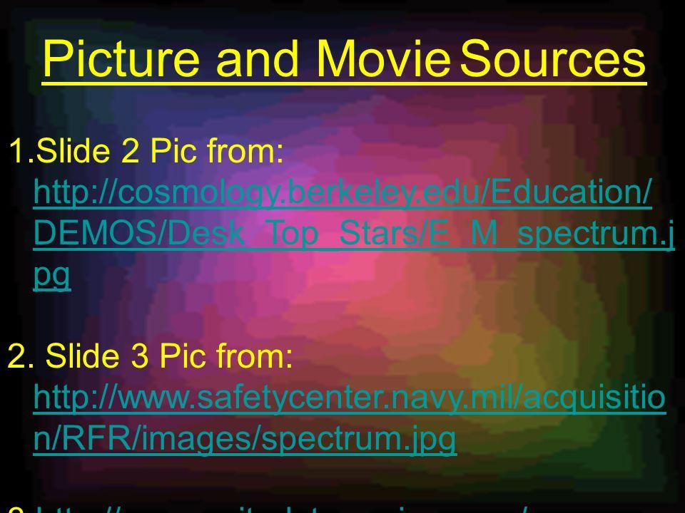 1.Slide 2 Pic from: http://cosmology.berkeley.edu/Education/ DEMOS/Desk_Top_Stars/E_M_spectrum.j pg http://cosmology.berkeley.edu/Education/ DEMOS/Desk_Top_Stars/E_M_spectrum.j pg 2.