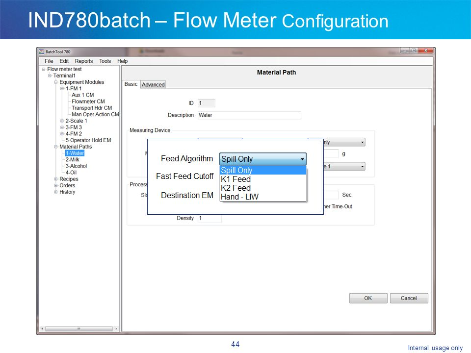 Internal usage only 44 IND780batch – Flow Meter Configuration