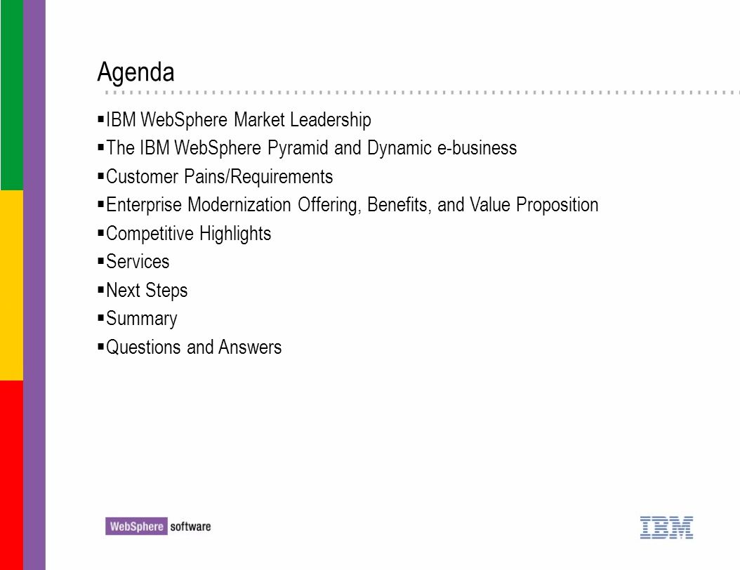 Agenda IBM WebSphere Market Leadership The IBM WebSphere Pyramid and Dynamic e-business Customer Pains/Requirements Enterprise Modernization Offering,