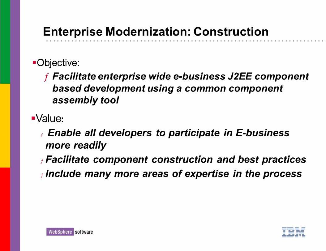 Enterprise Modernization: Construction Objective: ƒFacilitate enterprise wide e-business J2EE component based development using a common component ass
