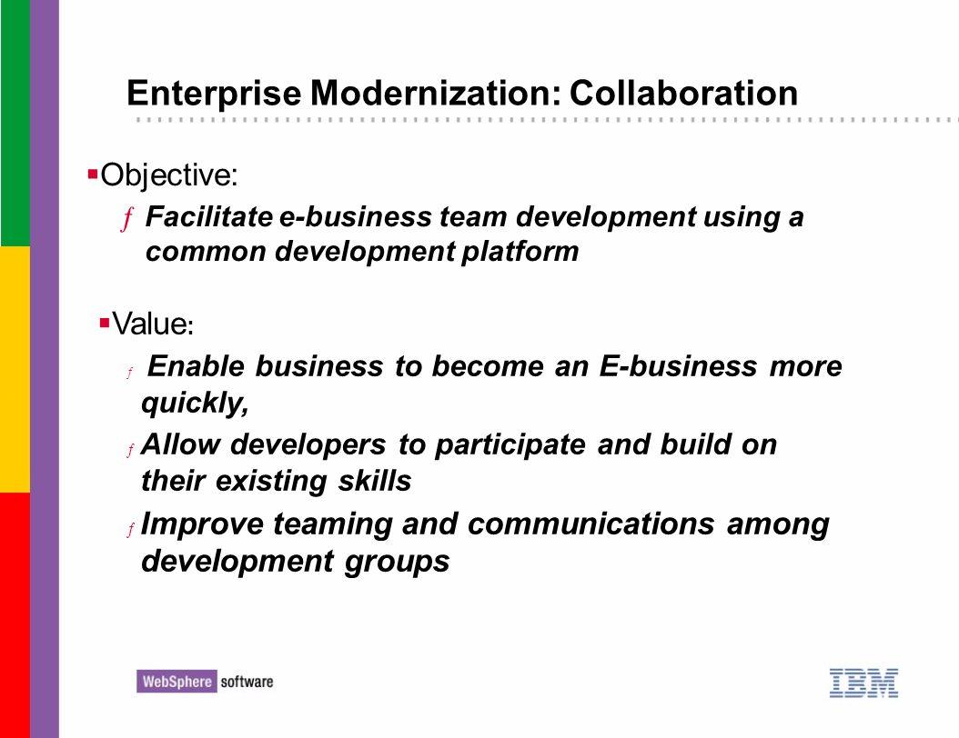 Enterprise Modernization: Collaboration Objective: ƒFacilitate e-business team development using a common development platform Value : ƒ Enable busine