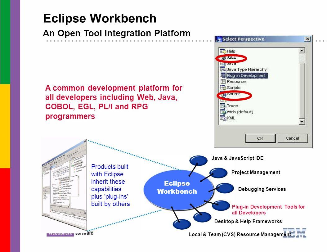 Eclipse Workbench An Open Tool Integration Platform A common development platform for all developers including Web, Java, COBOL, EGL, PL/I and RPG pro