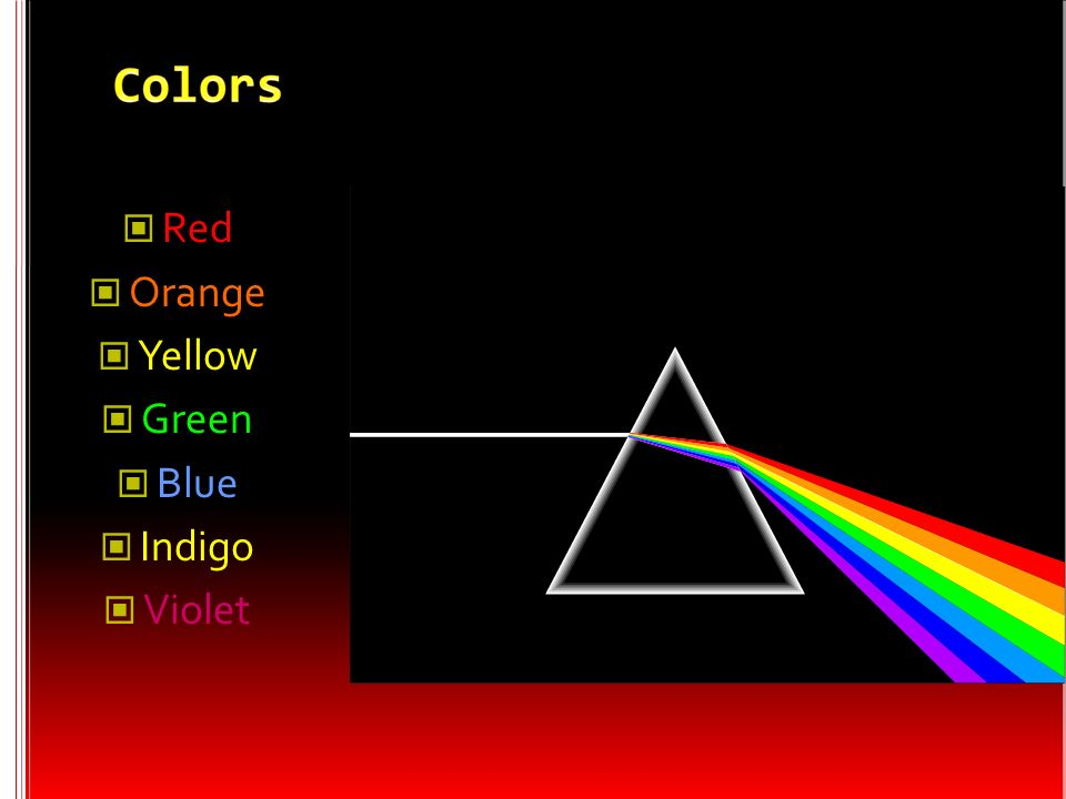White light- not a single color; it is made up of a mixture of the seven colors of the rainbow We can demonstrate this by splitting white light with a