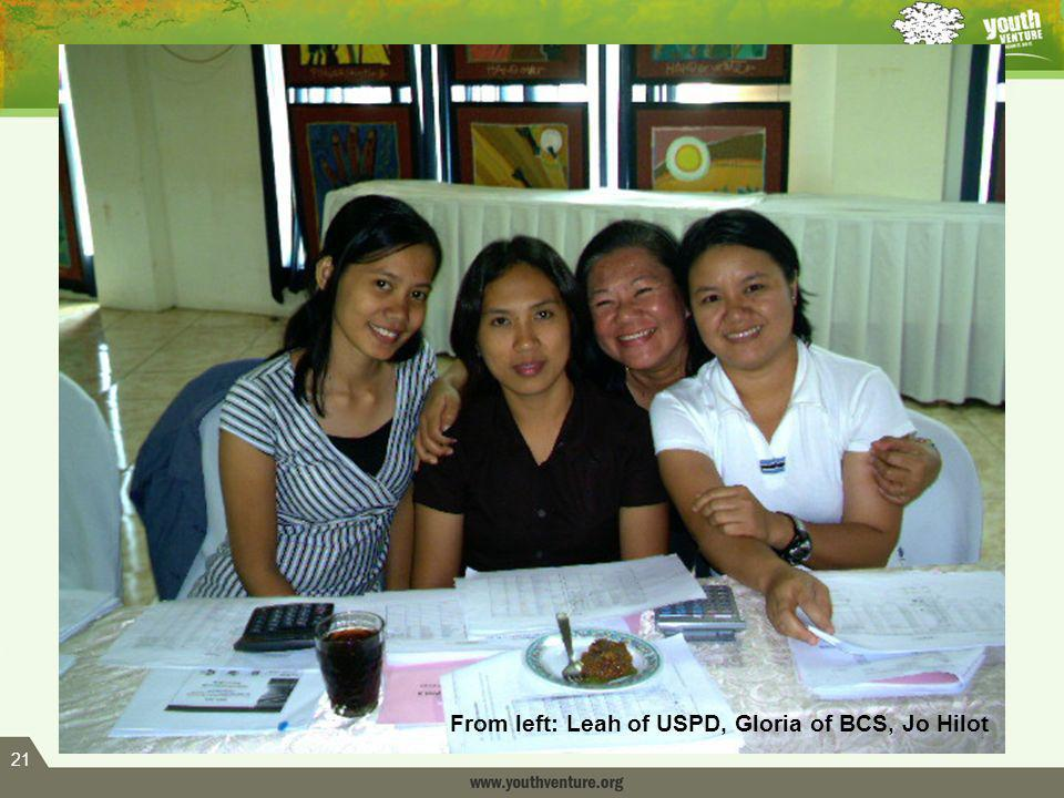 21 From left: Leah of USPD, Gloria of BCS, Jo Hilot