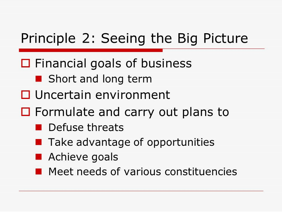 Principle 2: Seeing the Big Picture Financial goals of business Short and long term Uncertain environment Formulate and carry out plans to Defuse threats Take advantage of opportunities Achieve goals Meet needs of various constituencies