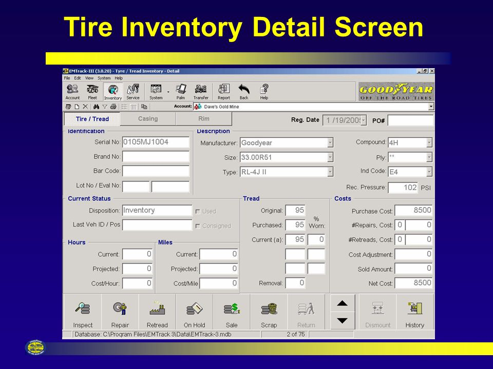 Fast Multiple Tire Registrations Tire Registration Screen