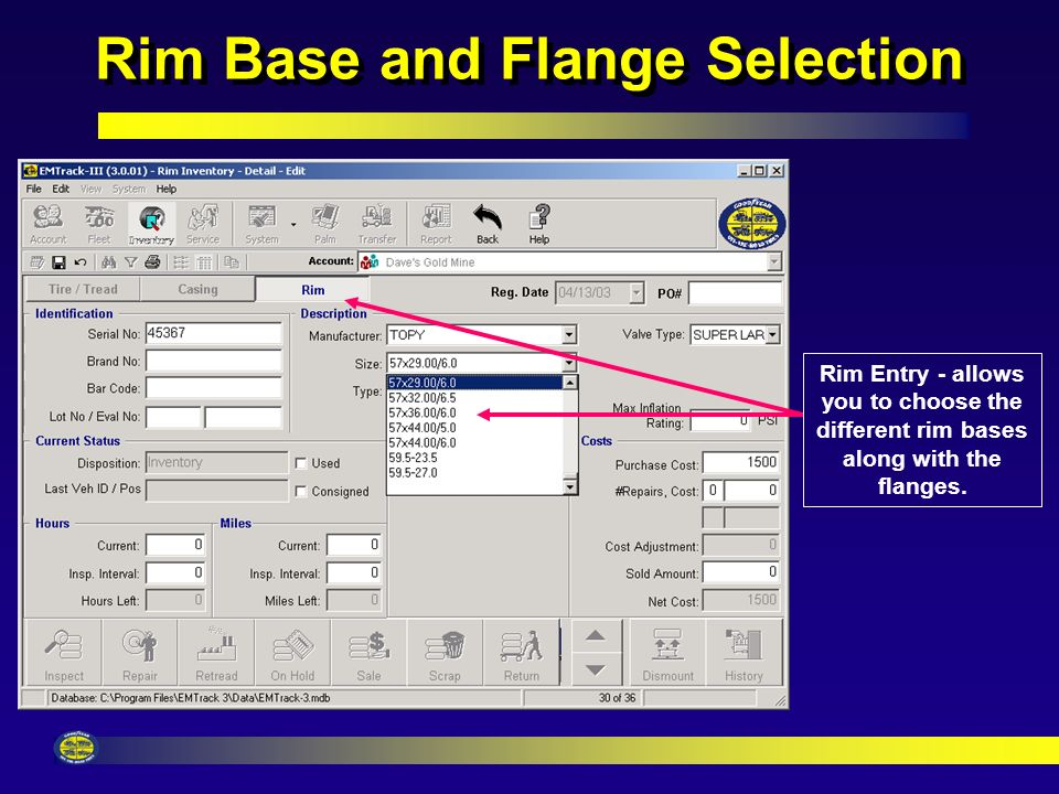 Rim Selection Rim Entry - allows you to choose the different rim manufactures.