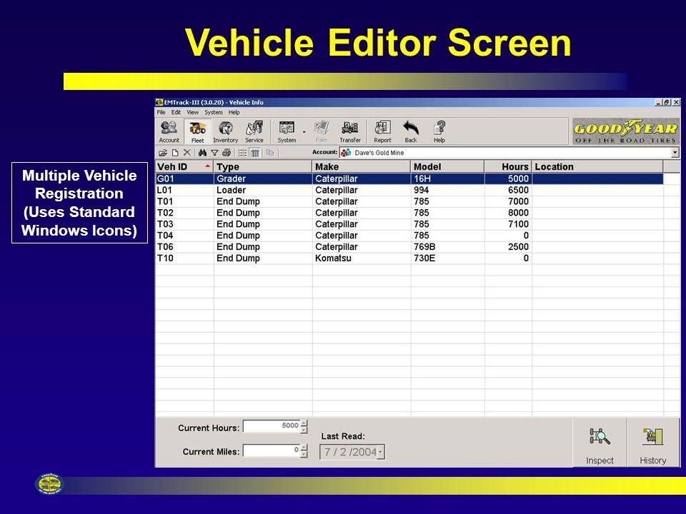 Vehicle Editor Screen