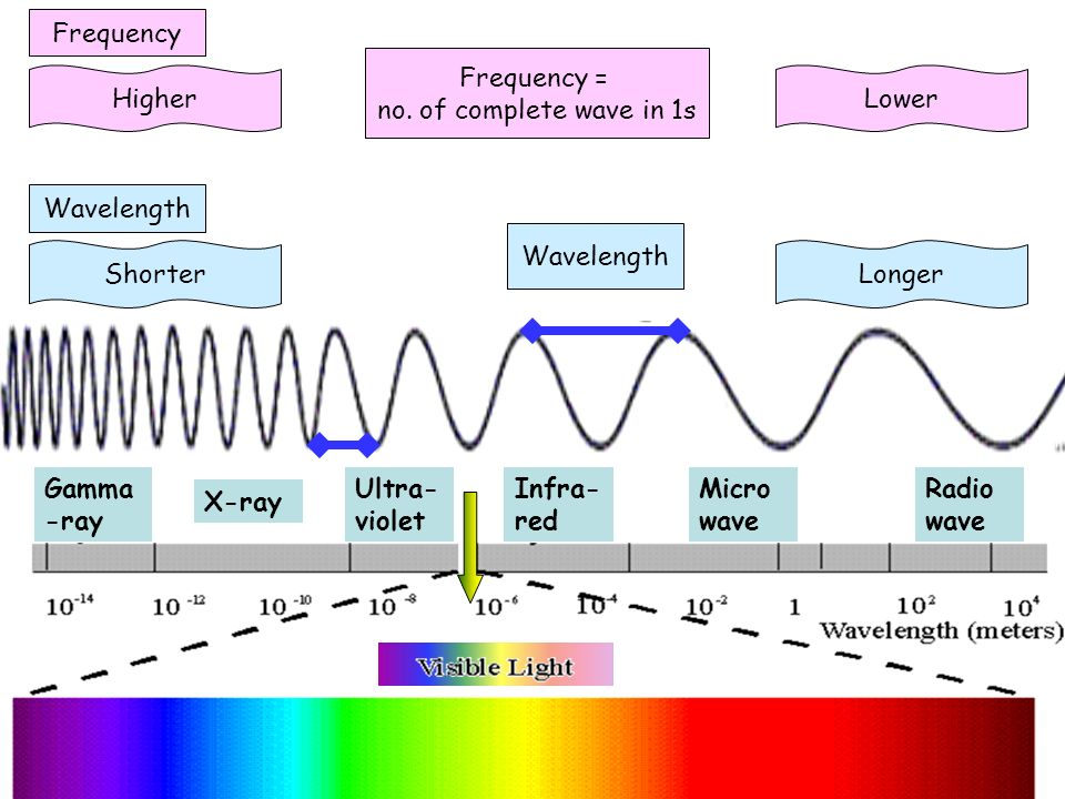 Gamma -ray X-ray Ultra- violet Infra- red Micro wave Radio wave Wavelength LongerShorter Frequency LowerHigher Frequency = no. of complete wave in 1s