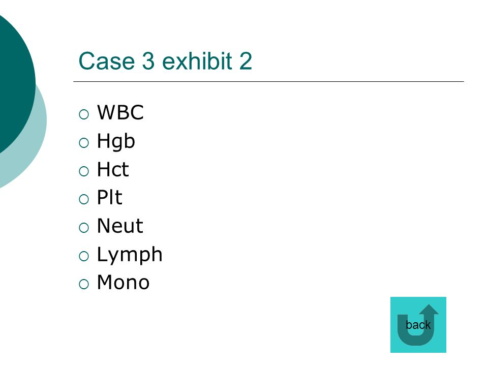 Case 3 exhibit 2 WBC Hgb Hct Plt Neut Lymph Mono back
