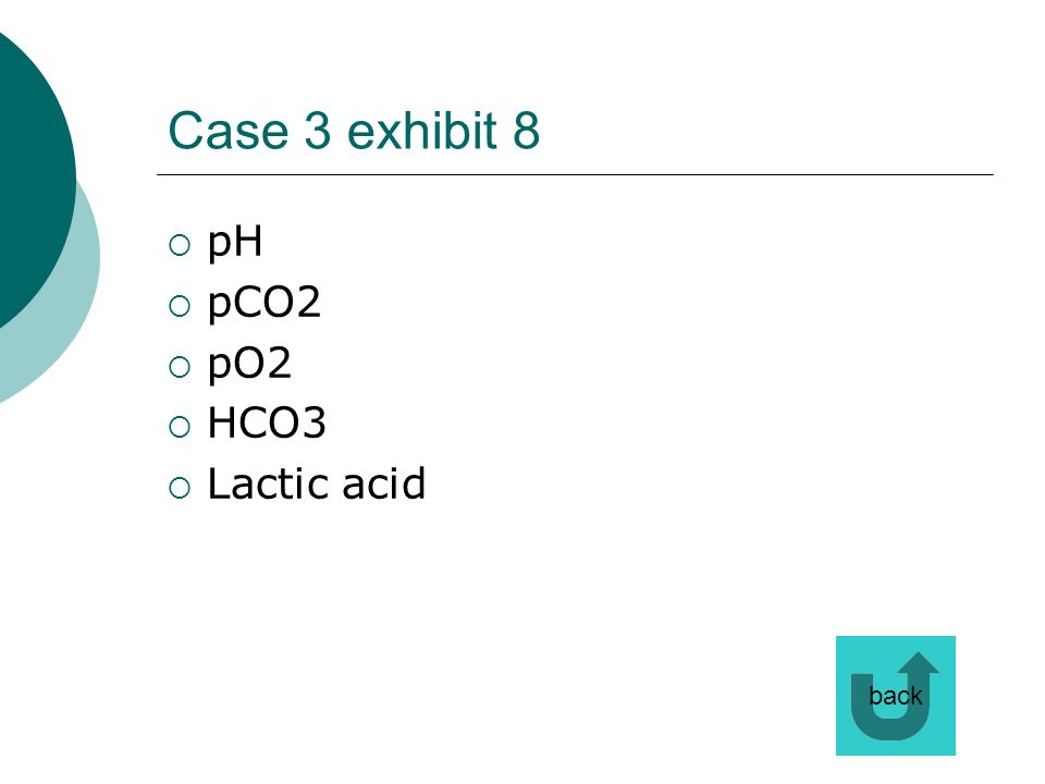 Case 3 exhibit 8 pH pCO2 pO2 HCO3 Lactic acid back
