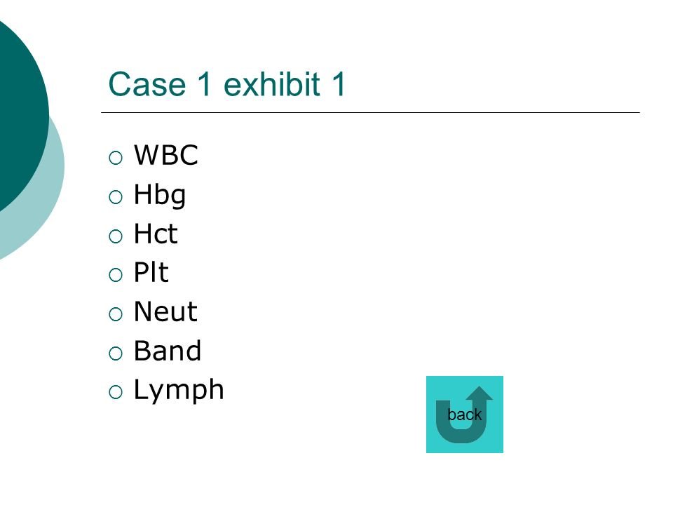 Case 1 exhibit 1 WBC Hbg Hct Plt Neut Band Lymph back