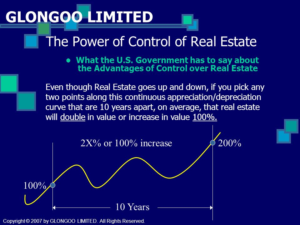 GLONGOO LIMITED The Power of Control of Real Estate What the U.S. Government has to say about the Advantages of Control over Real Estate 10 Years 2X%