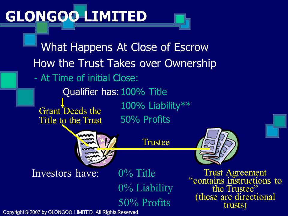 GLONGOO LIMITED What Happens At Close of Escrow How the Trust Takes over Ownership - At Time of initial Close: Qualifier has:100% Title 100% Liability** 50% Profits Investors have:0% Title 0% Liability 50% Profits Trust Agreement contains instructions to the Trustee (these are directional trusts) Grant Deeds the Title to the Trust Trustee Copyright © 2007 by GLONGOO LIMITED.