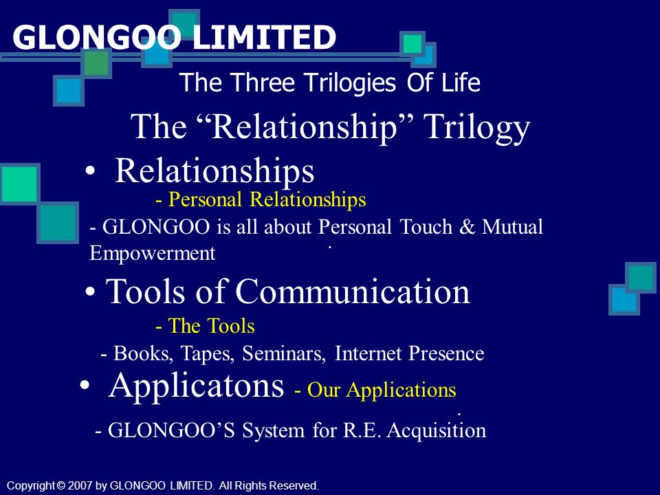 GLONGOO LIMITED The Three Trilogies Of Life The Relationship Trilogy Relationships - Personal Relationships Tools of Communication - Books, Tapes, Sem