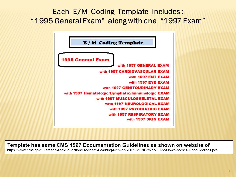 Each E/M Coding Template includes : 1995 General Exam along with one 1997 Exam Template has same CMS 1997 Documentation Guidelines as shown on website of   3